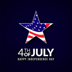4th of july American national holiday greeting card. Happy independence day illustration