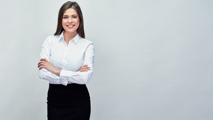 studio portrait of smiling positive business woman. Wall mural