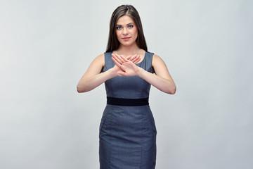 Businesswoman doing crossed hands, stop symbol.