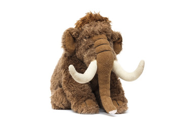 Soft toy cute brown elephant on white background