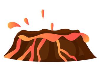 Splashing Hot Lava in Volcano Isolated Eruption