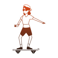 Young skater woman vector illustration graphic design