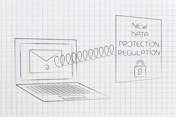 new privacy text popping out of laptop screen with email on it