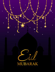 Eid Mubarak Islamic design greeting card template with arabic calligraphy. Vector illustration