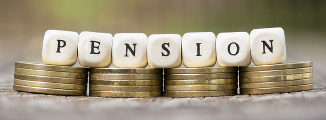 Web banner of pension savings plan concept - money coins with letters