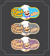 Retro Style Chef Banners Vector Illustration