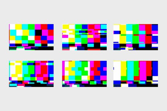 A set of static glitches. No signal TV. TV screen. End of movie VHS. Digital glitch distortion. Vector illustration.