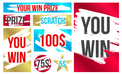 Creative vector illustration of lottery scratch and win game card isolated on background. Coupon luck or lose chance. Art design ripped effect marks. Abstract concept graphic element