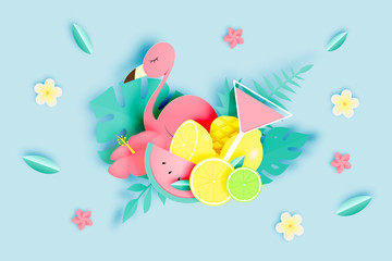 Tropical floral with flamingo in paper art style and pastel color scheme