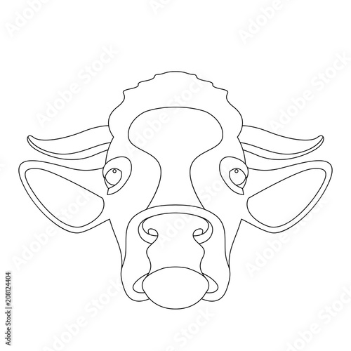 Cow Face Head Front Side Line Drawing Vector Stock Image And