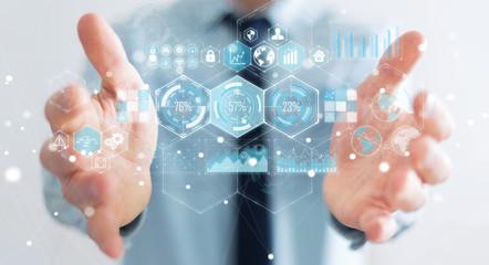 Businessman using holograms datas on digital screens 3D rendering