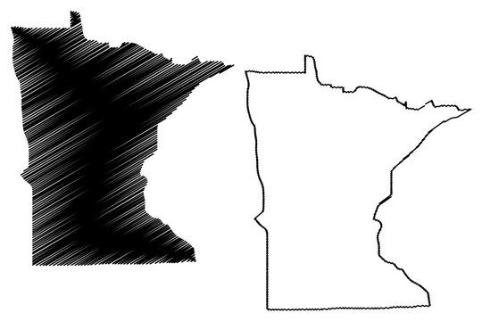 Minnesota map vector illustration, scribble sketch Minnesota map