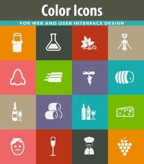 Vineyard and Wine icons set