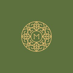 Golden sign monogram on a green background in the style of online art.