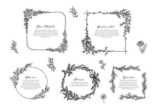 Floral Graphic Frames Set