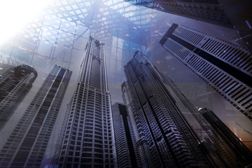 Dubai Business center buildings. double exposure Background for Business and finance concept
