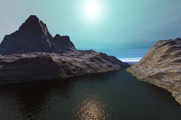 Dark waters, a rocky landscape, beautiful mountains and a wonderful sun in the sky.