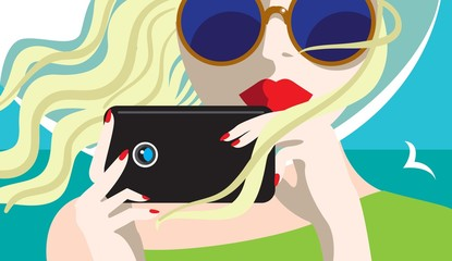 Taking pictures / Creative conceptual vector. Womans face with a camera.