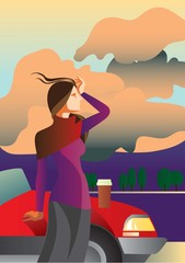 Warm evening / Creative conceptual vector. Woman standing near the car with a take away coffee.