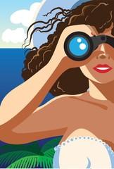 Through the binocular / Creative conceptual vector. Woman looking through the binocular.