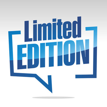 Limited edition in brackets white blue isolated sticker icon