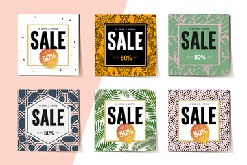 Modern promotion web banner for social media mobile apps. Elegant sale and discount promo backgrounds with abstract pattern, vector illustration.