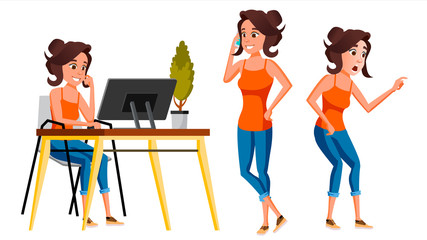 Office Worker Vector. Woman. Modern Employee, Laborer. Business Worker. Face Emotions, Various Gestures. Isolated Cartoon Character Illustration