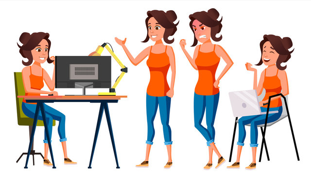 Office Worker Vector. Woman. Professional Officer, Clerk. Business Female. Lady Face Emotions, Various Gestures. Isolated Flat Character Illustration