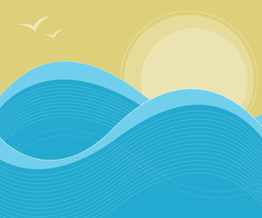 Sunny sky and ocean waves background in vector format