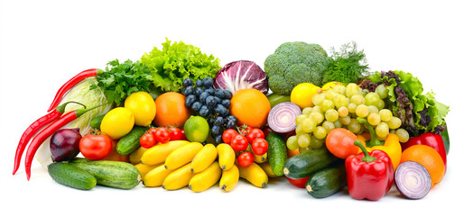 Large assortment useful vegetables and fruits isolated on white