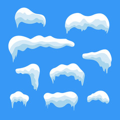 Snow ice icicle set Winter design. White blue snow template. Snowy frame decoration isolated on blue background. Cartoon style. Christmas, New Year frozen ice texture. Vector illustration