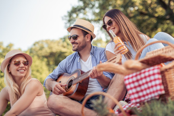 Group of friends enjoying picnic in the park