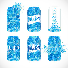 Set of metaliic cans, sodas logotype. Isolated abstract canned drinking liquid emblem. Stained blue, white ad idea, trendy wave graphic template. Cool drops bubbly bunch. Brand sign, company identity