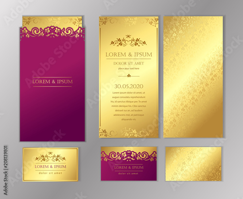 Luxury wedding invitation cards with gold texture set of vector luxury wedding invitation cards with gold texture set of vector design templates stopboris Choice Image