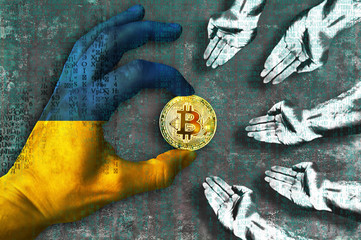Bitcoin cryptocurrency Ukraine flag Golden Coin of Bitcoin in the Ukrainian flag hand giving coin in to hands of poor people Grunge background with binary code of matrix effect