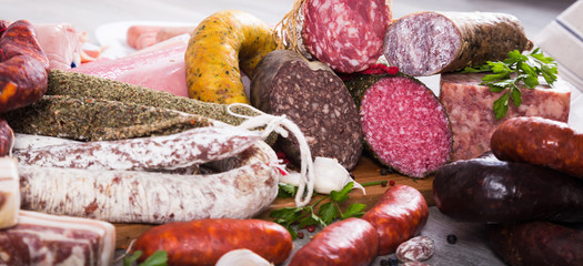 tasty meat and sausage products