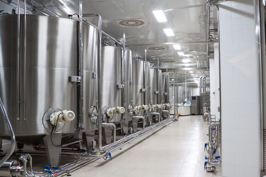 modern Stainless steel wine reservoirs  in a row