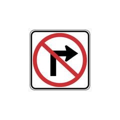 USA traffic road signs. no right turn. vector illustration