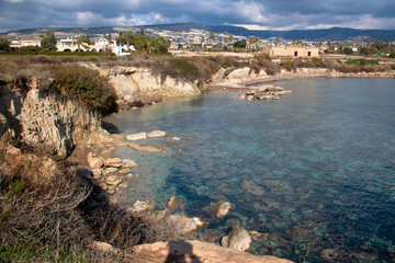 View of Paphos city on the hills from Coral Bay Beach region