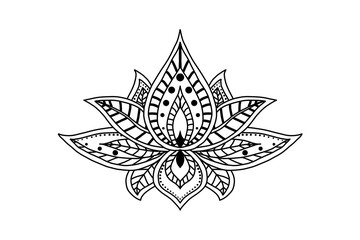 Hand drawn isolated lotus. Ethnic oriental ornament