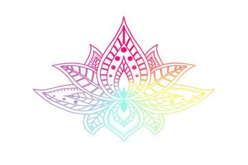 Hand drawn isolated rainbow lotus. Ethnic oriental ornament