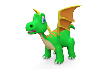 3D digital render of a little dragon isolated on white background