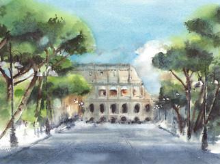 Colosseum Italy landmark ancient building travel destination watercolor painting illustration