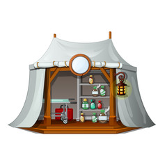 Mobile tent with drugs and first aid medicines isolated on a white background. Vector cartoon close-up illustration.