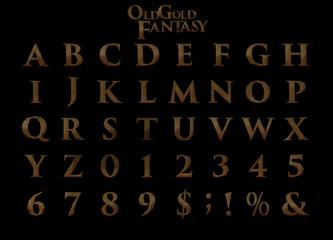 Old gold fantasy alphabet - 3D Illustration