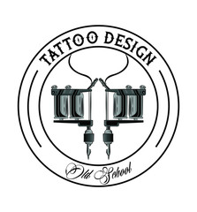 Old school tattoo machine drawing design vector illustration graphic