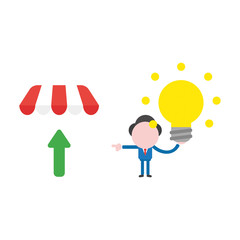 Vector illustration businessman character holding glowing light bulb, good idea and pointing shop store awning with arrow up