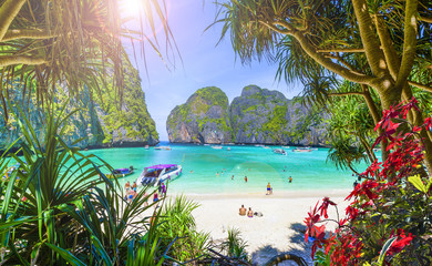 Amazing Maya beach on Phi Phi Islands, Thailand Wall mural