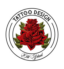 Old school flower tattoo drawing design vector illustration graphic