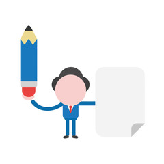 Vector illustration businessman character holding pencil and blank paper